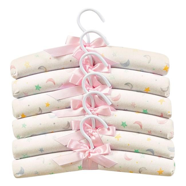 Cabide infantil hug kit c/ 6 céu infinito bege rosa