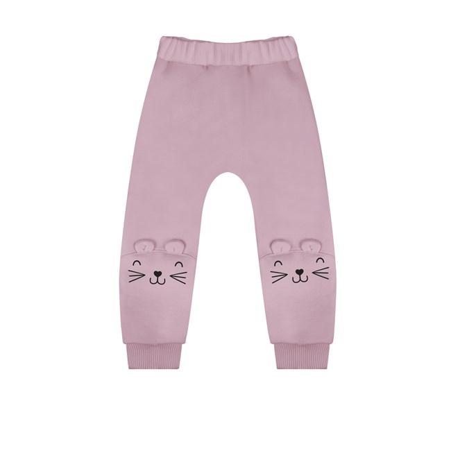 Calça moletom bebe gatinho hug rosa