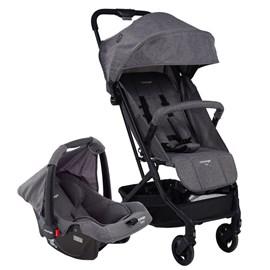 Carrinho de bebe com bebe conforto compacto yupi voyage cinza mescla