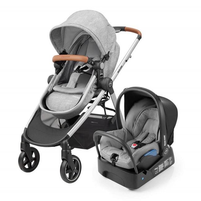 Carrinho de bebe com bebe conforto e base anna maxi-cosi 3 em 1 grey/cinza