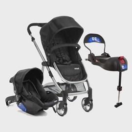Carrinho de bebe com bebe conforto e base isofix epic lite infanti 3 em 1 onyx