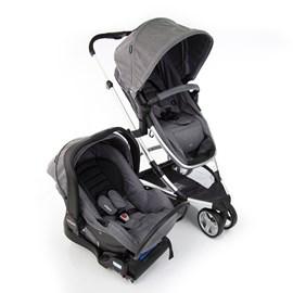 Carrinho de bebe com bebe conforto e base isofix sky infanti 3 em 1 grey/cinza
