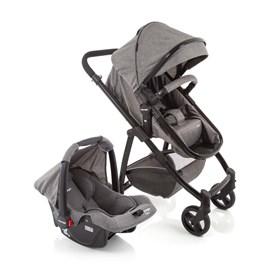 Carrinho de bebe com bebe conforto vip voyage 3 em 1 cinza mescla