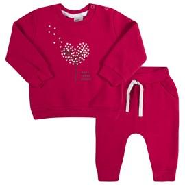 Conjunto bebe blusa e calça arvore coração tmx pink