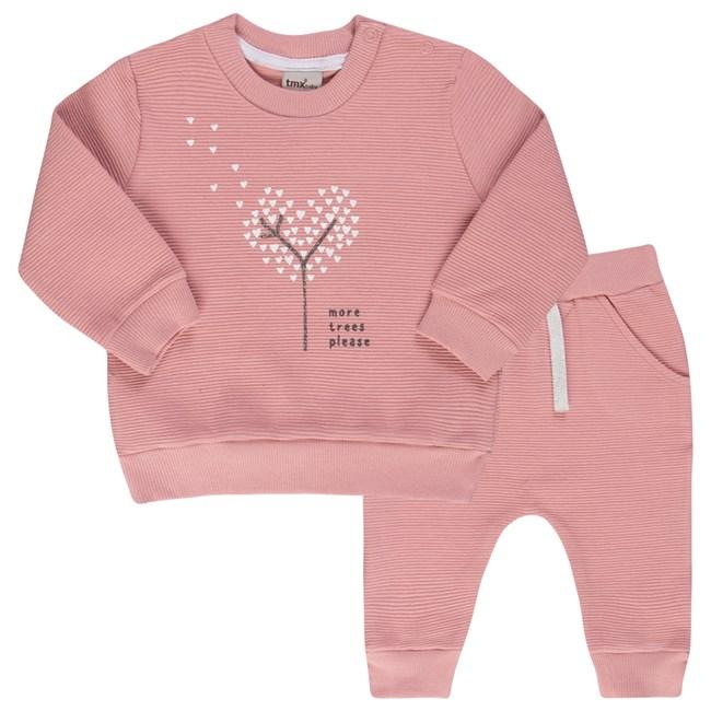Conjunto bebe blusa e calça arvore coração tmx rosa chá