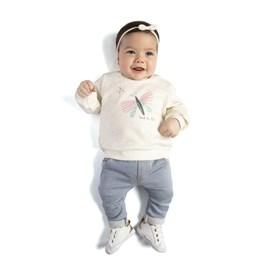 Conjunto bebe blusa e calça borboleta tmx marfim