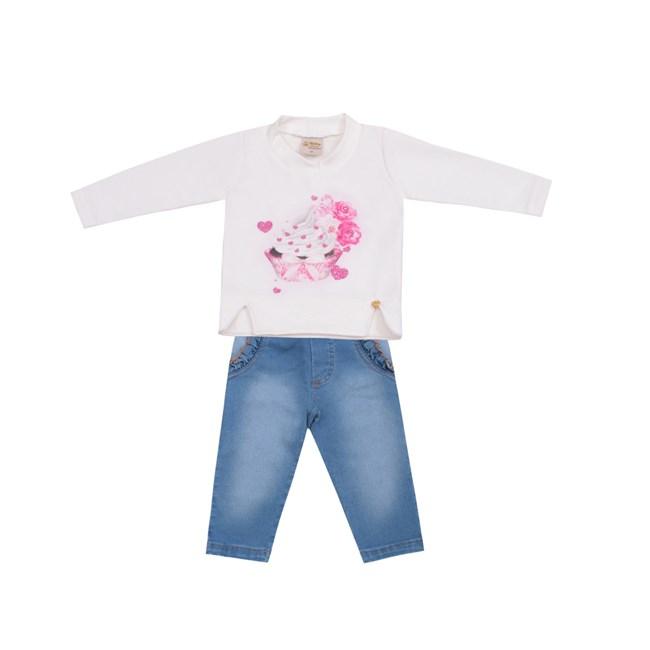 Conjunto bebe blusa e calça jeans ursinha baby doces momentos