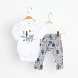 Conjunto bebê body e calça floresta keko