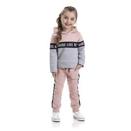Conjunto infantil blusa e calça moletom shine like tmx rosa chá