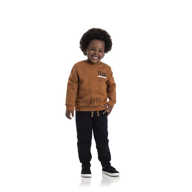 Conjunto infantil blusa e calça play tmx caramelo