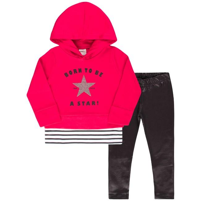 Conjunto infantil blusa e legging star tmx pink