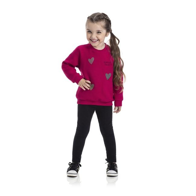 Conjunto infantil blusa e legging sweet heart tmx pink/preto