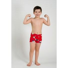 Cueca infantil boxer upman cotton gato super heroi vermelho