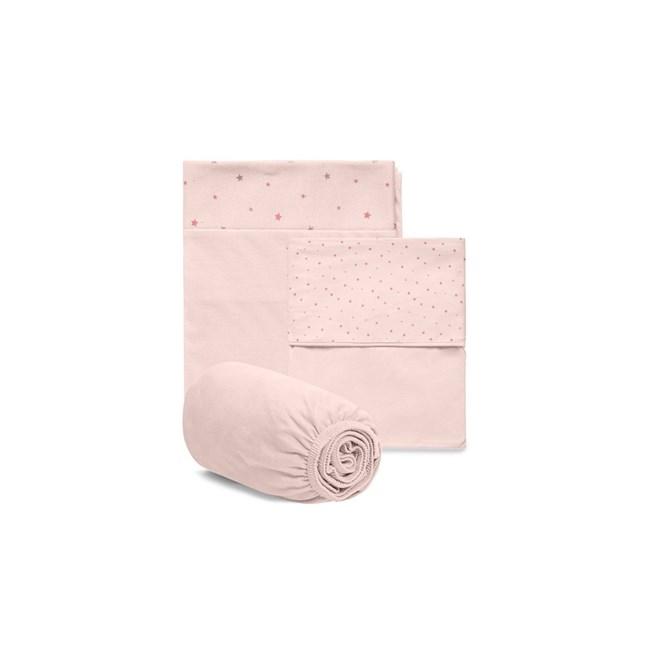 Jogo de lençol berço hug brilha estrelinha rosa