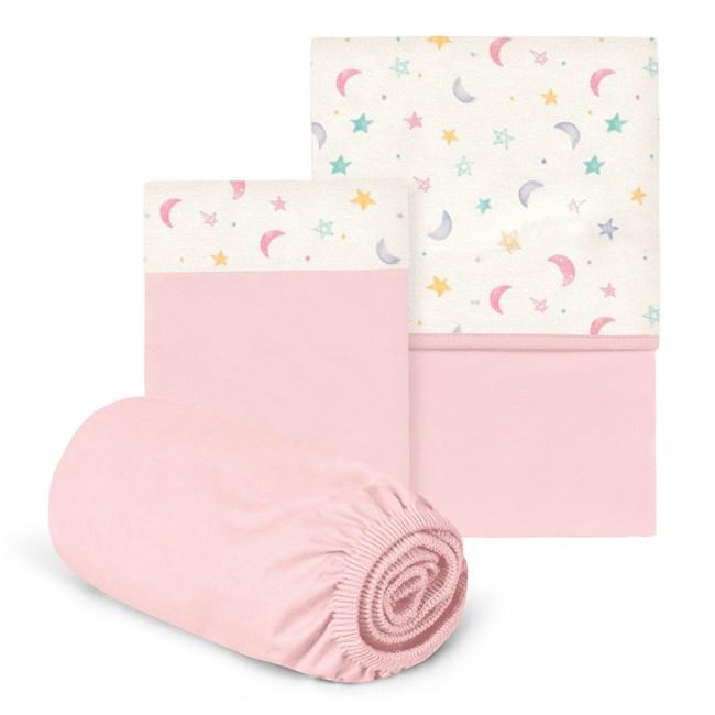 Jogo de lençol berço hug ceu infinito rosa