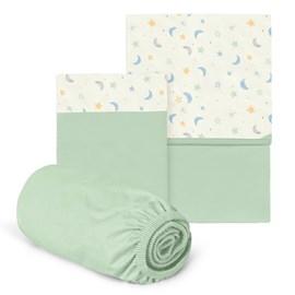 Jogo de lençol berço hug céu infinito verde