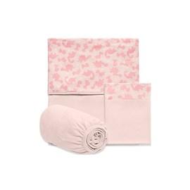 Jogo de lençol berço hug meus dinos rosa