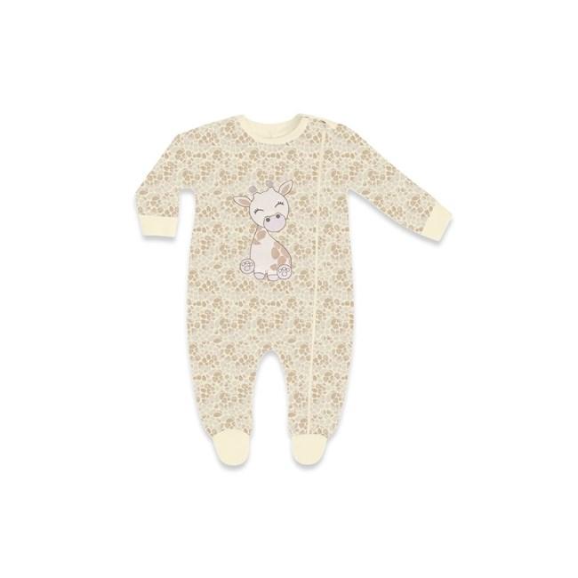 Macacao bebe bordado c/ zíper hug girafinha avela