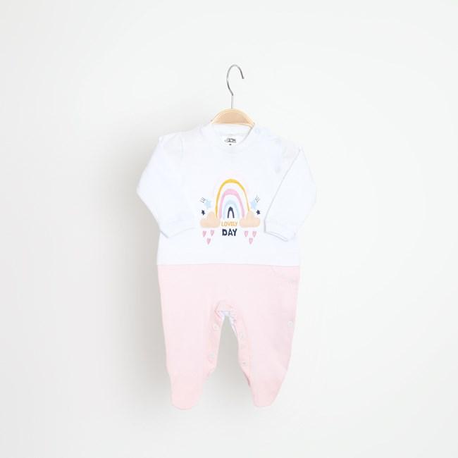 Macacão bebê manga longa bordado arco iris keko