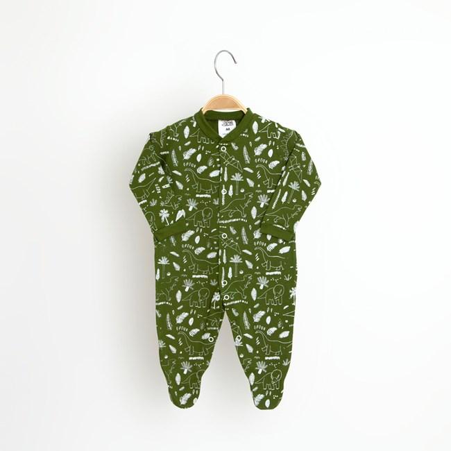 Macacão bebê manga longa dino keko verde