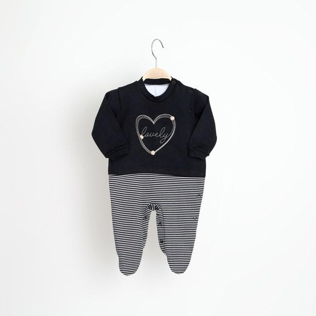 Macacão bebê manga longa lovely keko preto