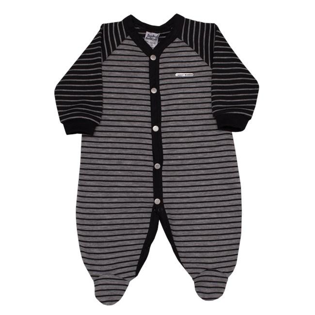 Macacão bebê manga longa malha listrado preto