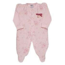 Macacão bebê manga longa plush garden sonho magico rosa
