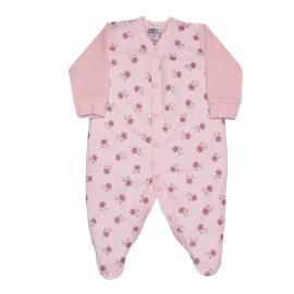 Macacão bebê manga longa suedine flores sonho magico rosa