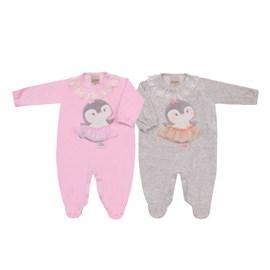 Macacao bebe plush pinguim baby doces momentos rosa