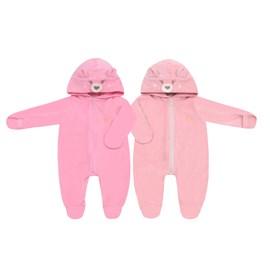 Macacao bebe plush vira mão baby doces momentos rosa