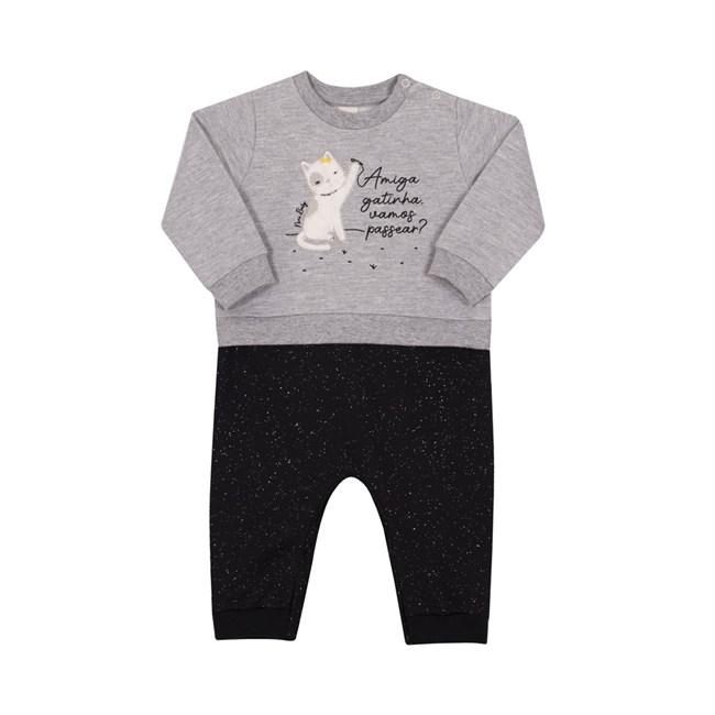 Macacão para bebe gatinho mescla/preto nini bambini