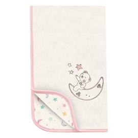 Manta para bebe suedine hug céu infinito bege rosa