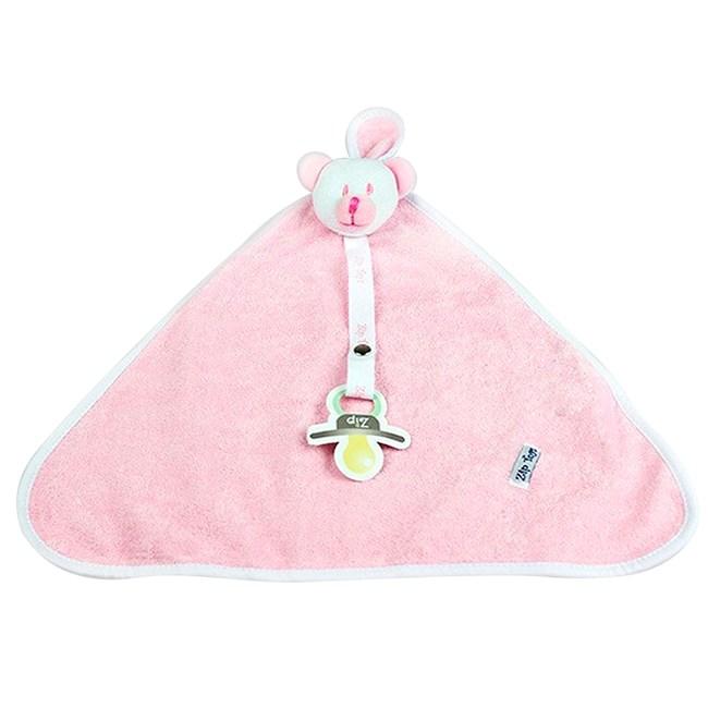Naninha de bebê atoalhada zip toys urso rosa