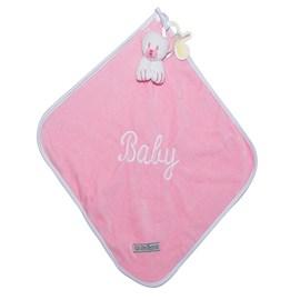 Naninha de bebê cetim zip toys urso rosa