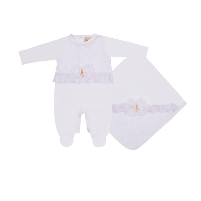 Saída de maternidade plush c/ renda baby doces momentos branco