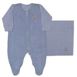 Saida de maternidade plush/trico classic boy sonho magico azul