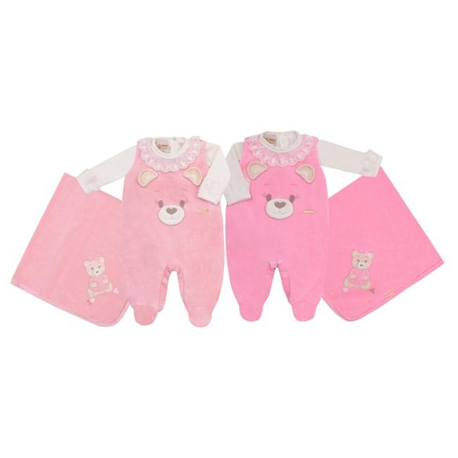 Saída de maternidade plush ursinha baby doces momentos rosa