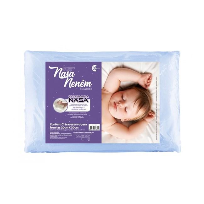 Travesseiro para bebê nasa nenem fibrasca azul