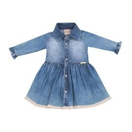 Vestido de bebe c/ pérolas baby doces momentos jeans